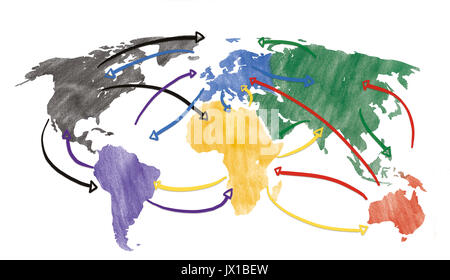 Concept for globalization and global networking with drawn arrows. - Stock Photo