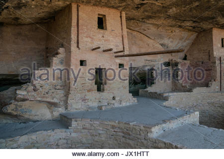 Buildings in the Balcony House site from the kiva, Mesa Verde National Park, Colorado, USA. - Stock Photo