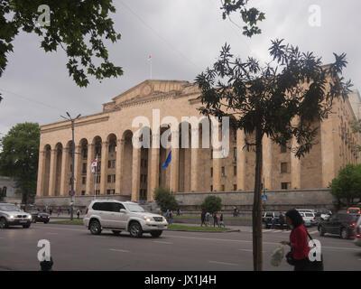 The old Parliament of Georgia on Shota Rustaveli Avenue in the centre of Tbilisi Georgia - Stock Photo