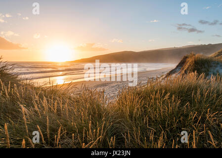 Sunset on the beach, Sandfly Bay, Otago, South Island, New Zealand - Stock Photo