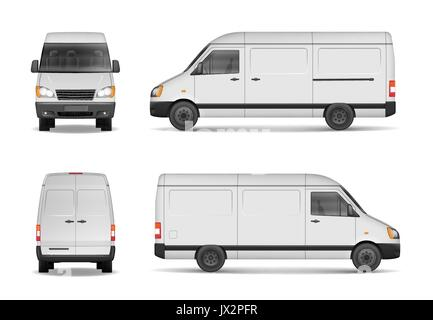 Isolated commercial delivery vehicle set. White van vector template for car branding and advertising. Mini bus from - Stock Photo
