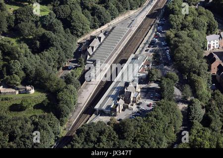 aerial view of Durham railway station - Stock Photo