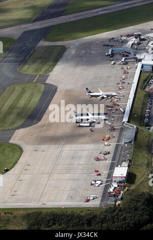 aerial view of Leeds Bradford Airport, Yorkshire, UK - Stock Photo