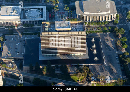 Los Angeles, California, USA - August 7, 2017:  Aerial view of the LA Department of Water and Power headquarters - Stock Photo