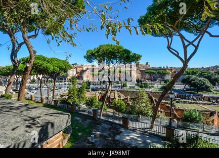Ancient Roman ruins near the Forum in Rome Italy on a sunny summer day - Stock Photo