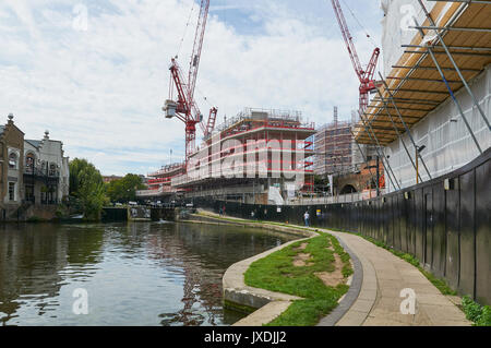 New apartments under construction on the Regents Canal at Camden Town, London UK - Stock Photo