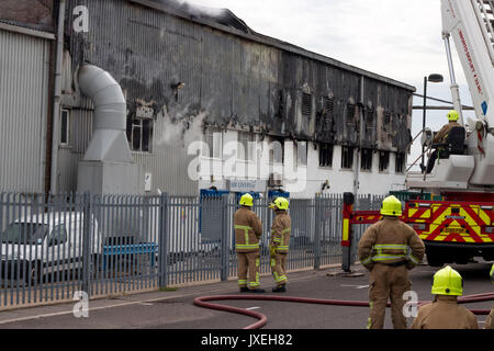 Southend on sea, Essex, UK. 16th August 2017. Airport Fire. A large fire has broken out at the Air Livery hangar - Stock Photo