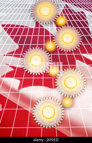 INTERLOCKING COG GEARS ON GRID OVER FLAG OF CANADA - Stock Photo