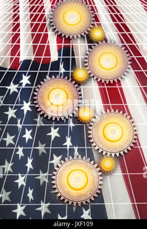 INTERLOCKING COG GEARS ON GRID OVER FLAG OF UNITED STATES OF AMERICA - Stock Photo