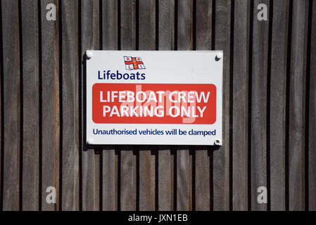 RNLI Lifeboat crew parking only sign. Space for copy - Stock Photo