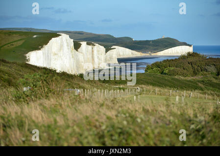 Sunset at the iconic Seven Sisters chalk cliffs, East Sussex, South Downs National Park - Stock Photo