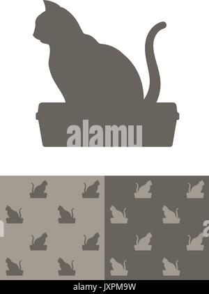 Cat sitting on a litter box silhouette icon as a single design element and in two different colour variations of - Stock Photo