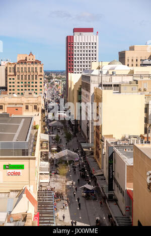Adelaide, Australia - September 16, 2016: Adelaide city and Rundle Mall viewed from above towards west on a bright - Stock Photo