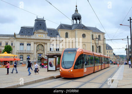 le mans, transport, france, tram, transportation, city, public, street, rail, modern, french, tramway, town, road, - Stock Photo