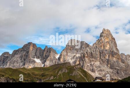 View of Dolomiti mountains from Passo Rolle, San Martino di Castrozza, Trentino-Alto Adige, Italy - Stock Photo