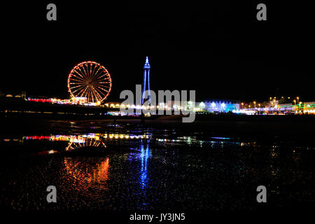 on the beach in Blackpool at night - Stock Photo
