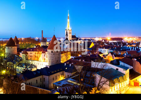 Panoramic view of Tallinn's Old City from the Piiskopi viewing platform, Tallinn, Estonia - Stock Photo