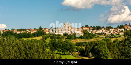 Abbey of La Chaise Dieu and its village, Haute Loire, Auvergne, France, Europe - Stock Photo