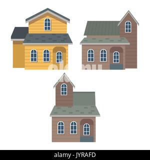 white background of set collection facade houses - Stock Photo