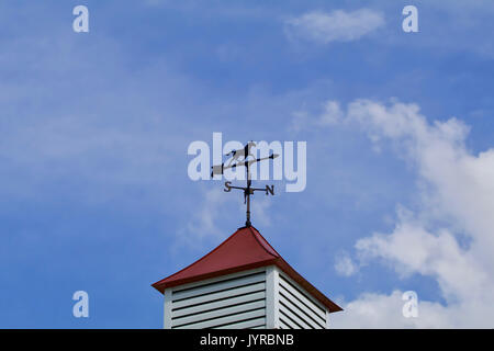 Horse weather van on top of a cupola against the sky - Stock Photo