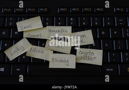 Computer keyboard with post it notes of ransomware and computer threats - Stock Photo