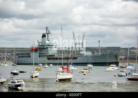 Unnamed rover class fleet auxiliary (RFA) vessel awaiting it's fate in the boneyard in Portsmouth harbour. - Stock Photo