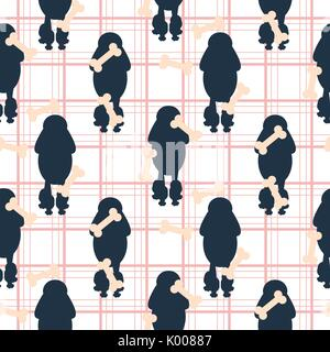 Poodle dog silhouette seamless vector checkered pattern. - Stock Photo
