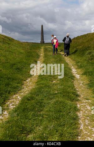 Lansdowne Monument on Cherhill downs Wiltshire UK - Stock Photo
