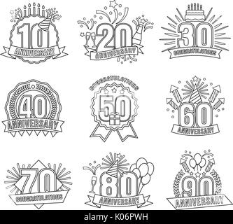 Anniversary coloring stickers style line art set - Stock Photo