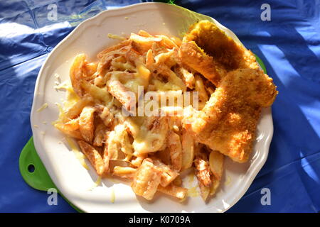 Cheesy chips and fried battered fish - Stock Photo