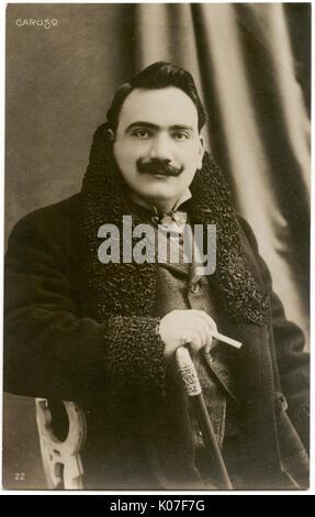 Enrico Caruso ((1873 - 1921), Italian operatic tenor.      Date: - Stock Photo