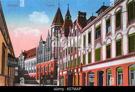 Gliwice, Upper Silesia, southern Poland, near Katowice. The Post Office.     Date: circa 1910s - Stock Photo
