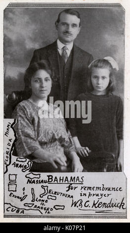 Missionary family with map of Bahamas, West Indies. They are Walter and Clara Kendrick and their daughter.  He was - Stock Photo
