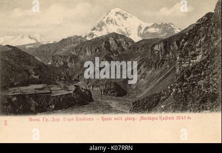 Georgia - on the border of North Ossetia-Alania - view of Mount Kazbek (5047m) a dormant stratovolcano (and the - Stock Photo