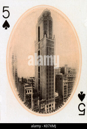 New York City - playing card - Bush Building and Knickerbocker Hotel - 5 of Spades.     Date: 1900 - Stock Photo