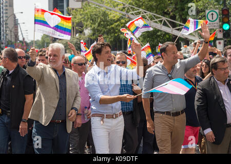 Montreal, CANADA - 20 August 2017. Canadian Prime Minister Justin Trudeau and Ireland Prime Minister Leo Varadkar - Stock Photo