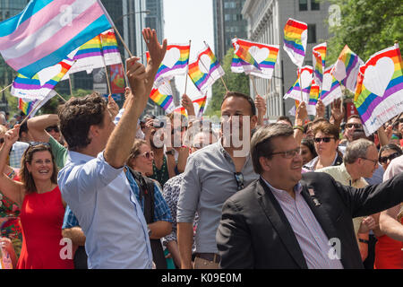 Montreal, CANADA - 20 August 2017. Canadian Prime Minister Justin Trudeau, Montreal Mayor Denis Coderre and Ireland - Stock Photo
