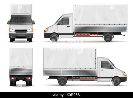 Semi truck isolated on white. Commercial cargo lorry. Delivery truck vector template from side, back, front View. - Stock Photo