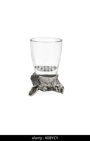 Glass with bottom in form of boar - Stock Photo