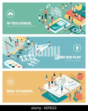 School, education and learning banners set with kids, teachers and objects - Stock Photo
