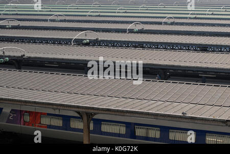 GARE DE L'EST PARIS FRANCE - PARIS TRAIN STATION- RAILWAY STATION - FRENCH TRAIN STATION - PARIS ROOFS PLATEFORMS - Stock Photo