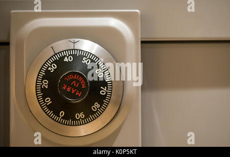 Close up of secure number dial combination lock on Chubb Mark IV Manifoil, a Military Grade Government filing cabinet - Stock Photo