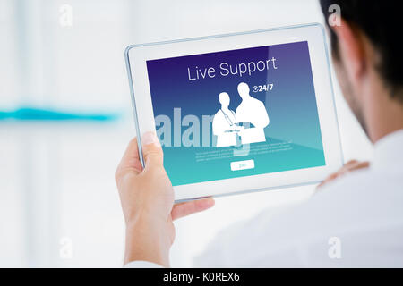 Human representations with live support text against cropped image of businessman holding digital tablet - Stock Photo