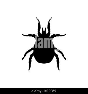 Mite parasite black silhouette animal. Vector Illustrator. - Stock Photo