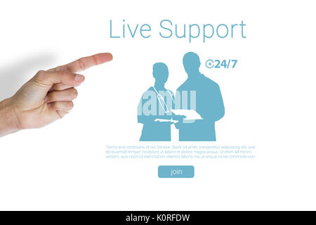 Cropped hand of man pointing against live support text with human representations - Stock Photo