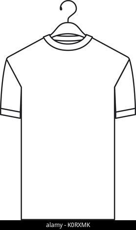 monochrome silhouette of t-shirt man in hanger - Stock Photo