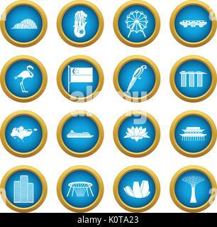 Singapore icons blue circle set - Stock Photo