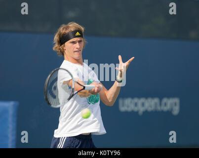 New York, USA. 23rd Aug, 2017. Alexander Zverev of Germany practice preparing for main US Open 2017 championship - Stock Photo