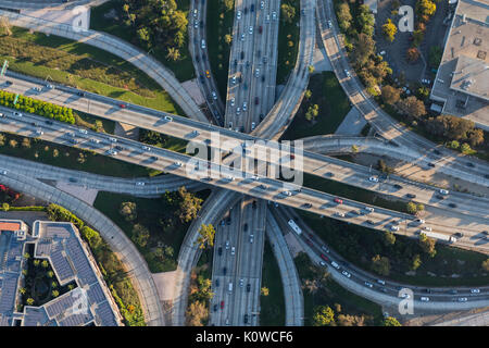 Los Angeles Hollywood 101 and Harbor 110 four level freeway interchange in Southern California. - Stock Photo