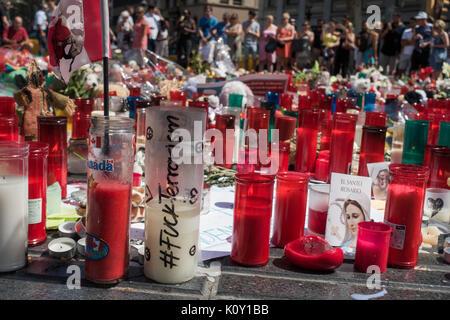 Memorial for victims of terror attacks in Las Ramblas in Barcelona,piety place,candles,terrorist attack - Stock Photo